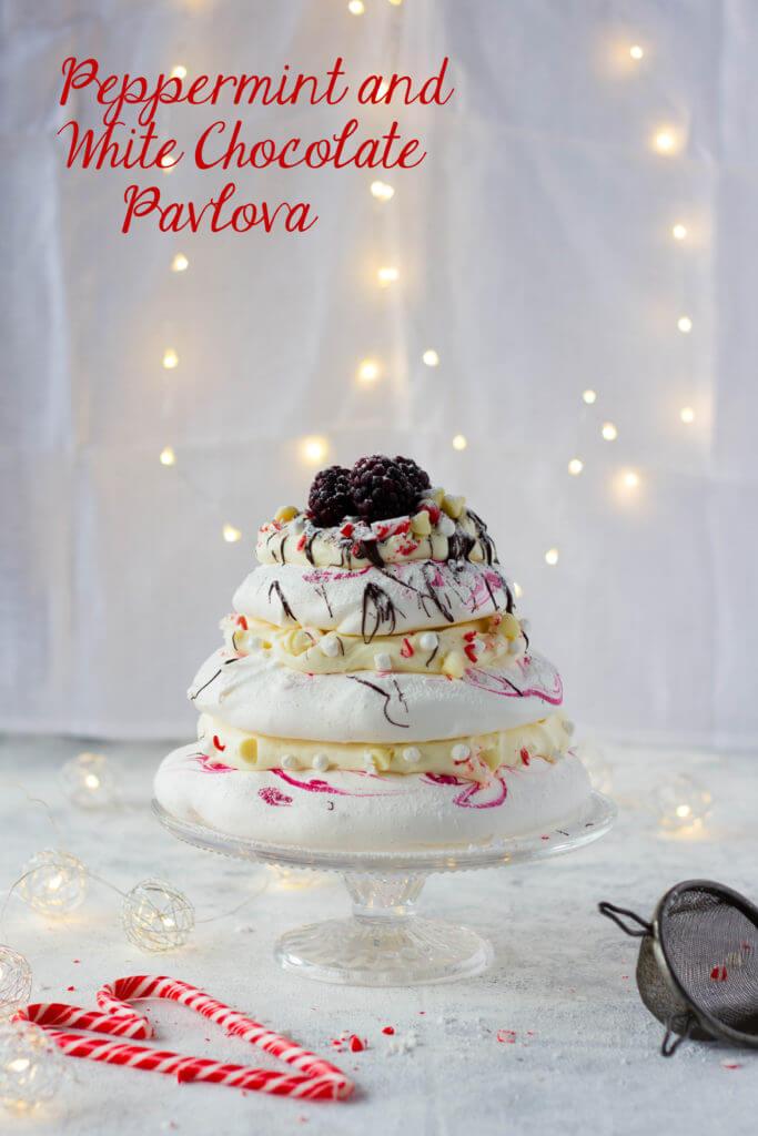 peppermint white chocolate pavlova | lilcupcakemonkey.com