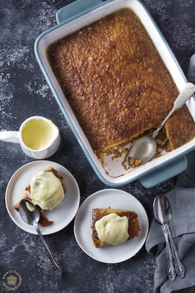 malwa pudding in baking dish | lilcupcakemonkey.com