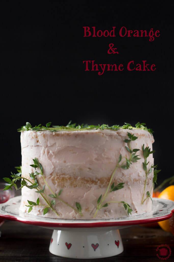 Blood orange and thyme cake with blood orange curd   lilcupcakemonkey.com