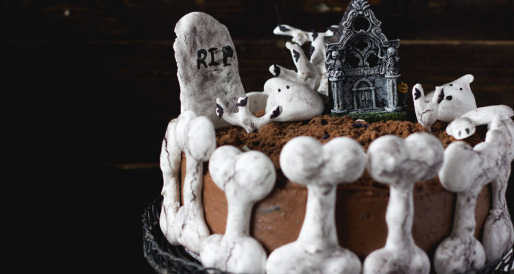 Haunted Bone Church Halloween Chocolate Cake | lilcupcakemonkey.com