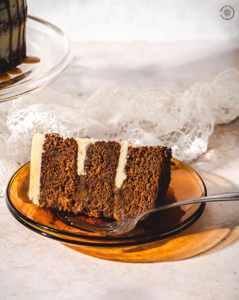 Slice of cake_ spiced rum sauce| lilcupcakemonkey.com
