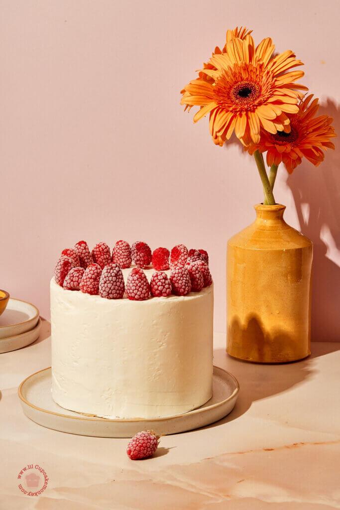 Raspberry and Orange Blossom swiss meringue